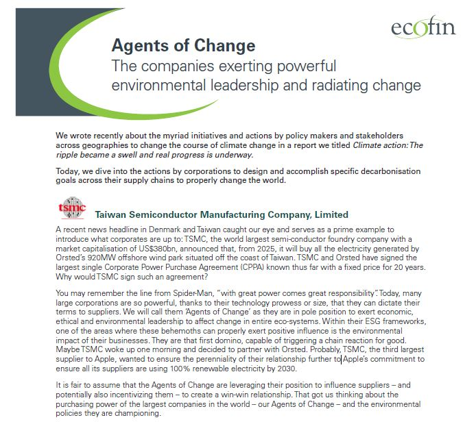 Agents of Change: The companies exerting powerful environmental leadership and radiating change